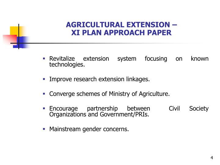 AGRICULTURAL EXTENSION –