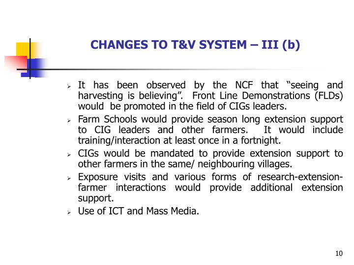 CHANGES TO T&V SYSTEM – III (b)