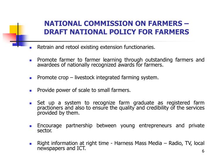 NATIONAL COMMISSION ON FARMERS –