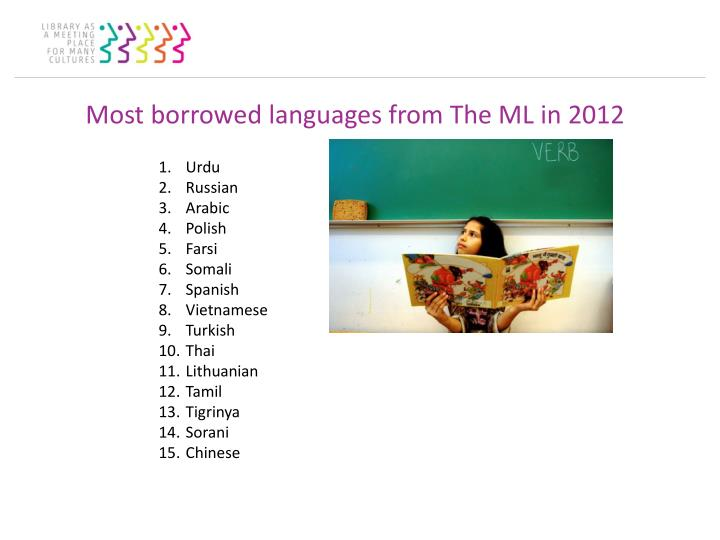 Most borrowed languages from The ML in 2012