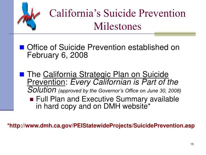 California's Suicide Prevention Milestones
