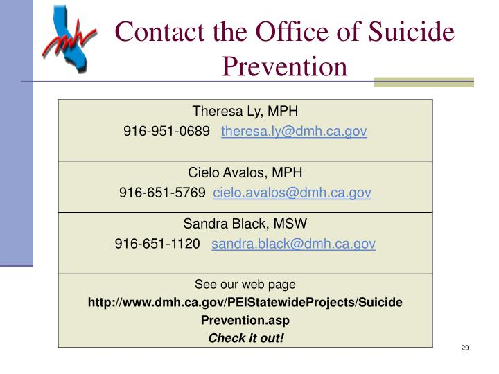 Contact the Office of Suicide Prevention
