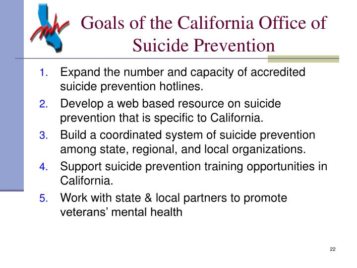 Goals of the California Office of Suicide Prevention