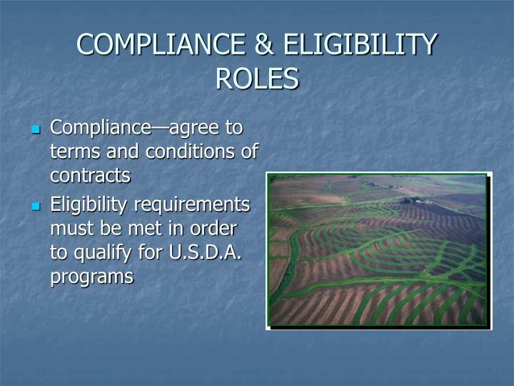 COMPLIANCE & ELIGIBILITY ROLES