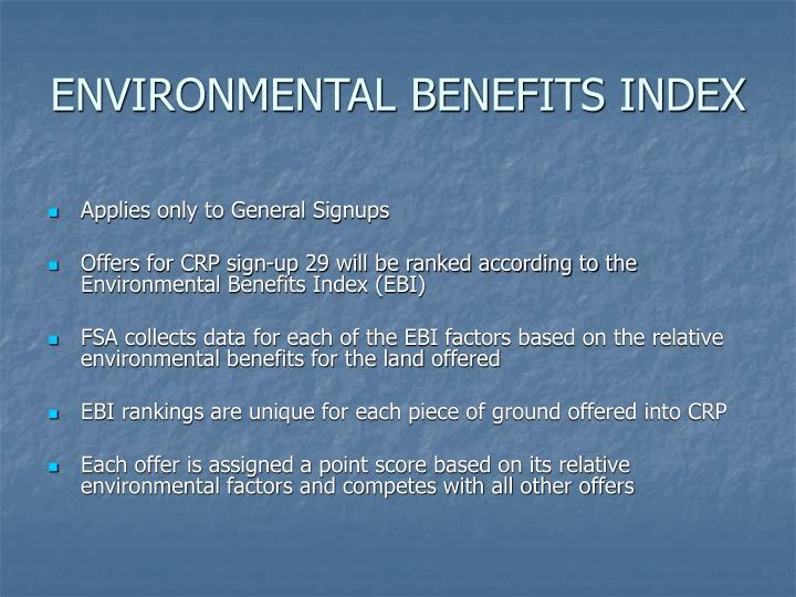 ENVIRONMENTAL BENEFITS INDEX