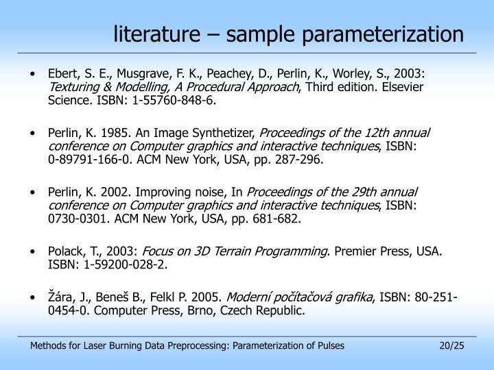 literature – sample parameterization