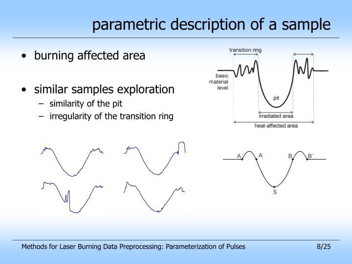 parametric description of a sample