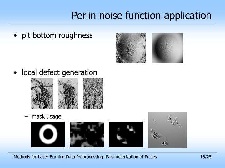Perlin noise function application