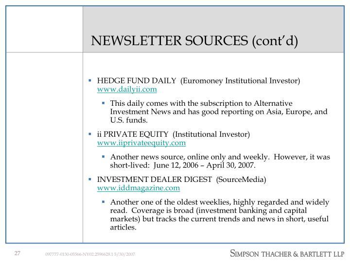 NEWSLETTER SOURCES (cont'd)