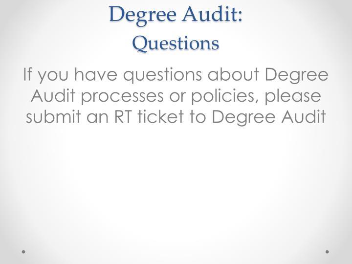 Degree Audit: