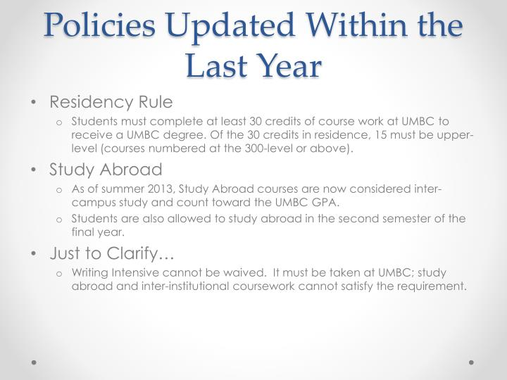 Policies Updated Within the Last Year