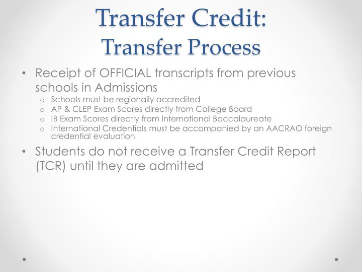 Transfer Credit: