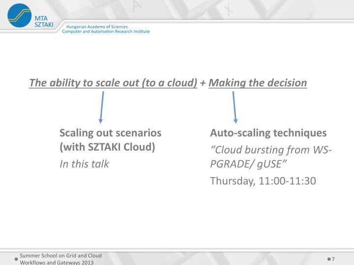 The ability to scale out (to a cloud)