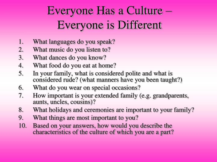 Everyone Has a Culture – Everyone is Different