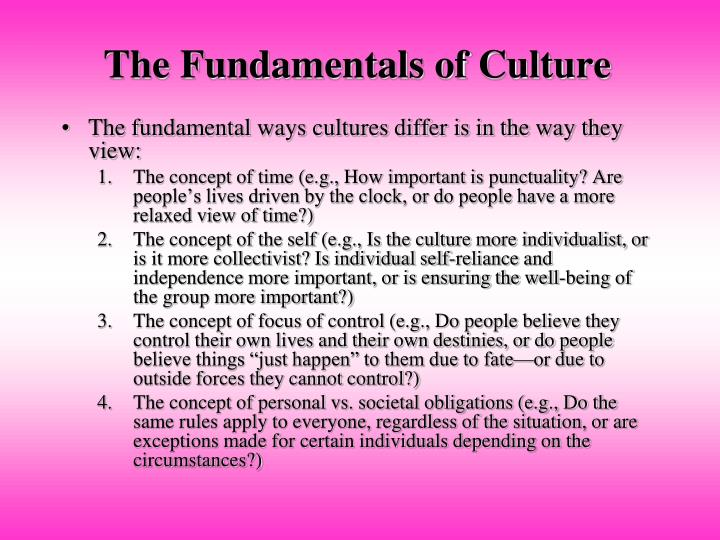 The Fundamentals of Culture