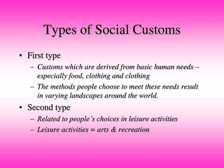 Types of Social Customs