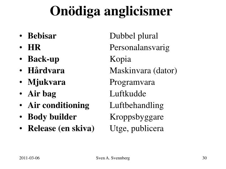 Onödiga anglicismer