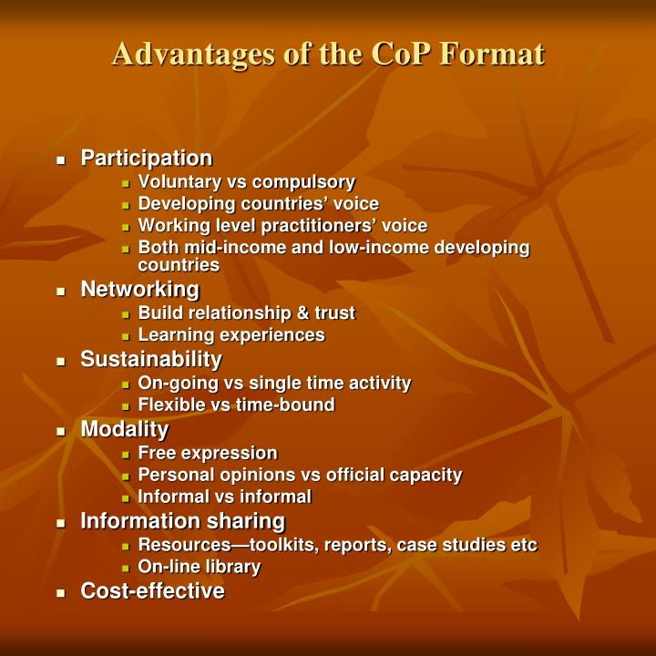 Advantages of the CoP Format