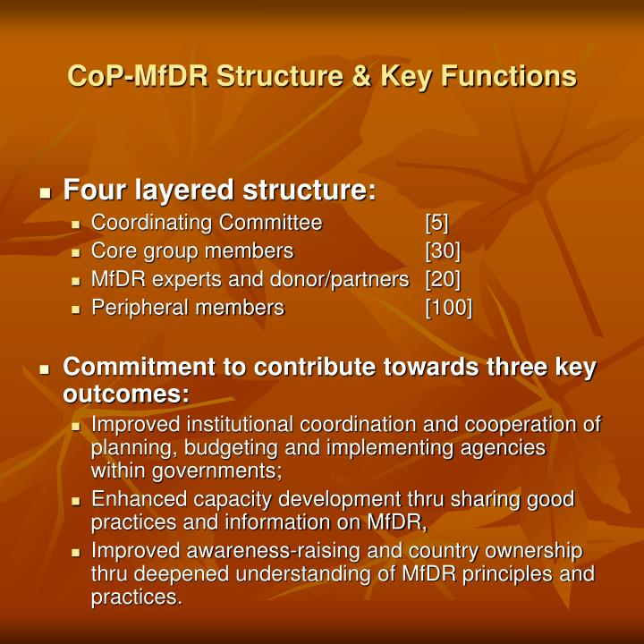 CoP-MfDR Structure & Key Functions