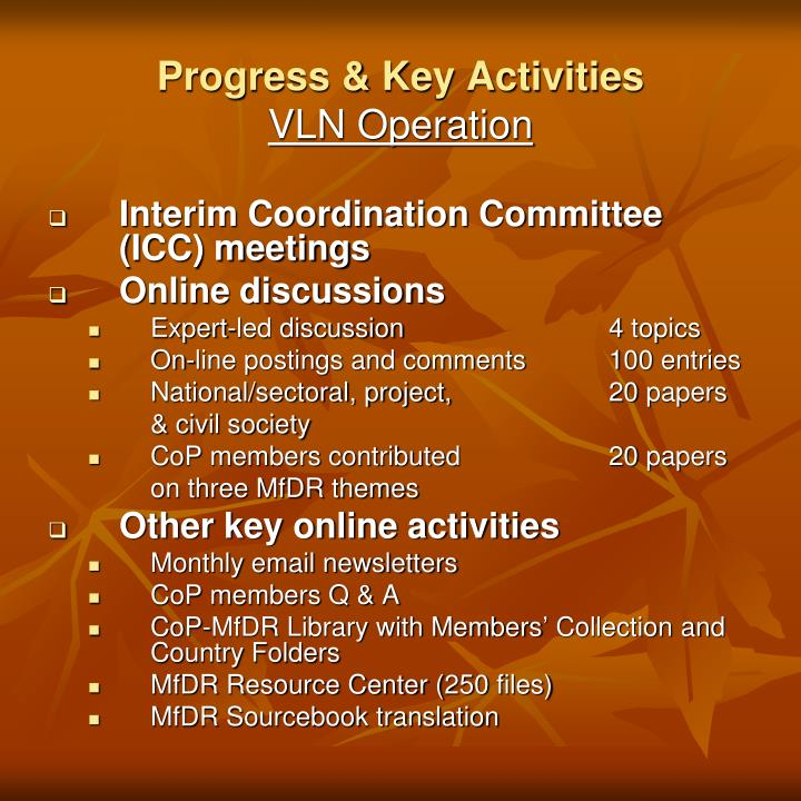 Interim Coordination Committee (ICC) meetings