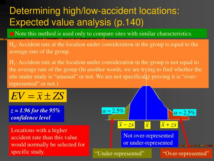 Determining high/low-accident locations: Expected value analysis (p.140)