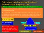 determining high low accident locations expected value analysis p 140