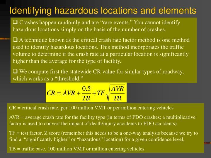 Identifying hazardous locations and elements