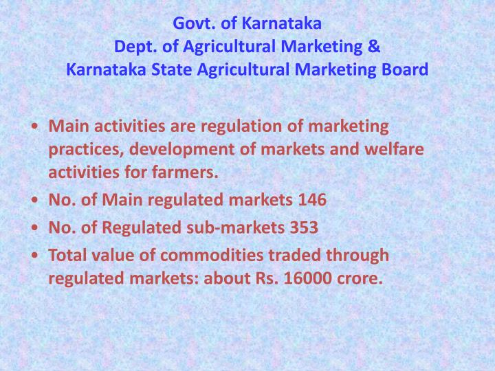 Govt of karnataka dept of agricultural marketing karnataka state agricultural marketing board