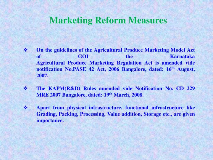 Marketing Reform Measures