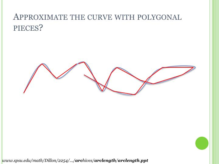 Approximate the curve with polygonal pieces?
