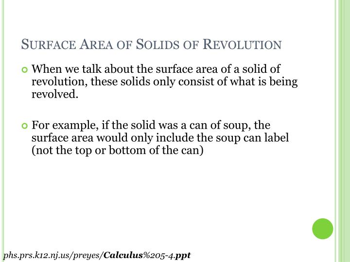 Surface Area of Solids of Revolution