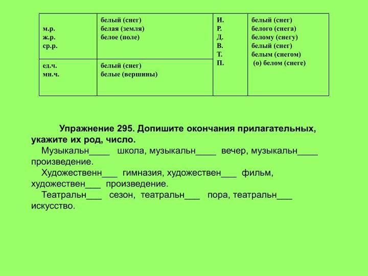 Упражнение 295. Допишите окончания прилагательных, укажите их род, число.