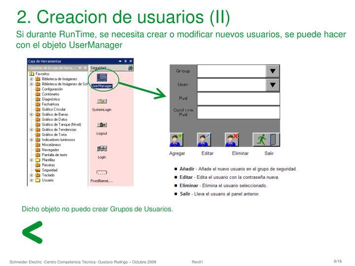 2. Creacion de usuarios (II)