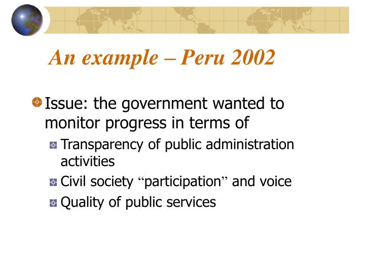 An example – Peru 2002