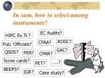 in sum how to select among instruments