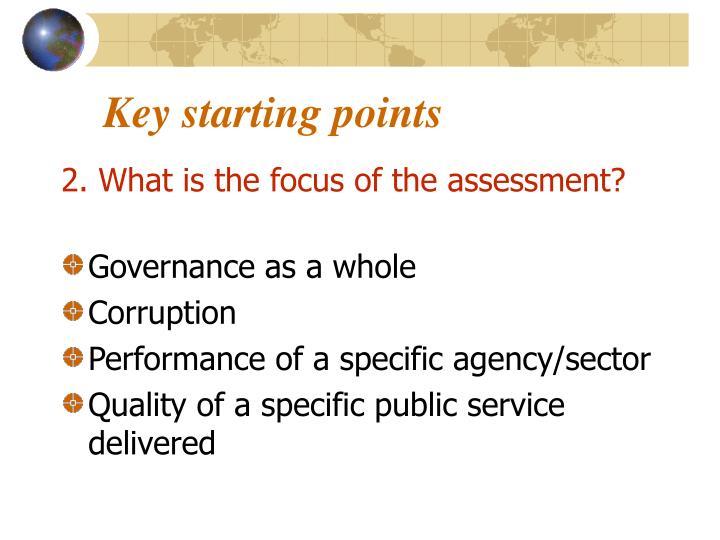Key starting points