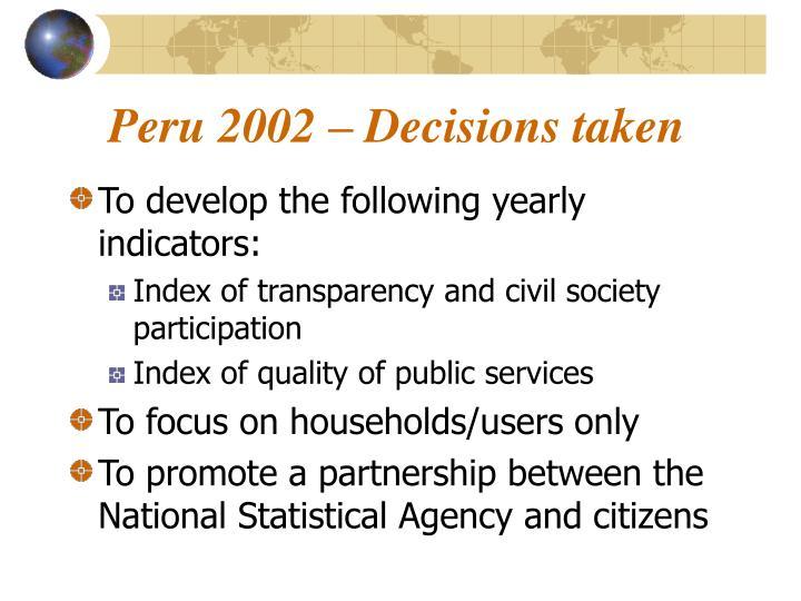 Peru 2002 – Decisions taken