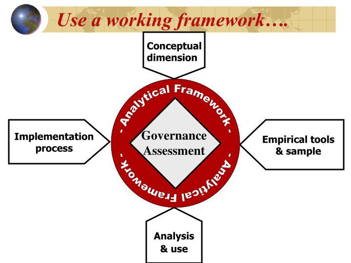 Use a working framework….