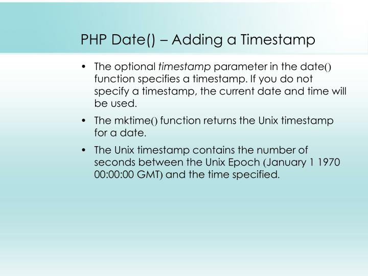 PHP Date() – Adding a Timestamp