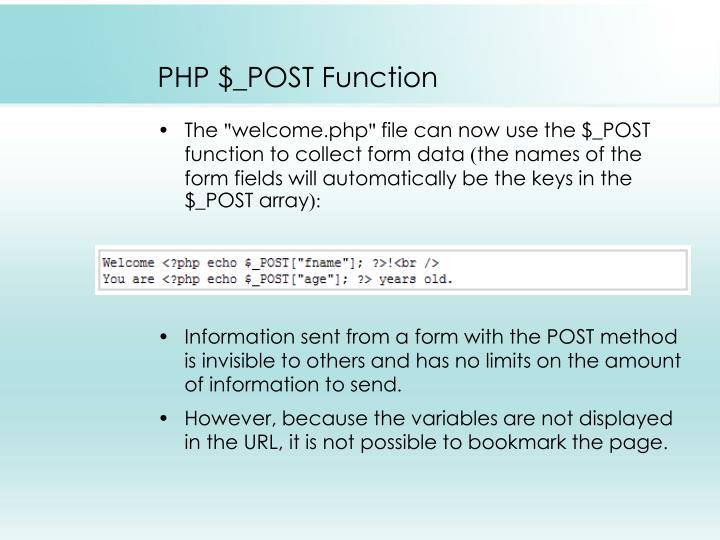 PHP $_POST Function