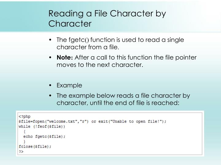 Reading a File Character by Character