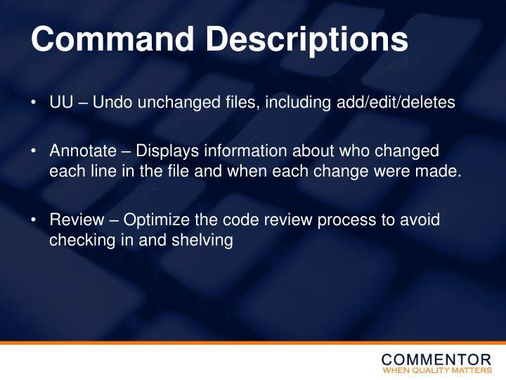 Command Descriptions