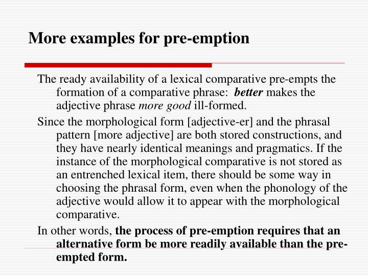 More examples for pre-emption