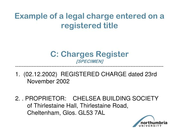 Example of a legal charge entered on a registered title