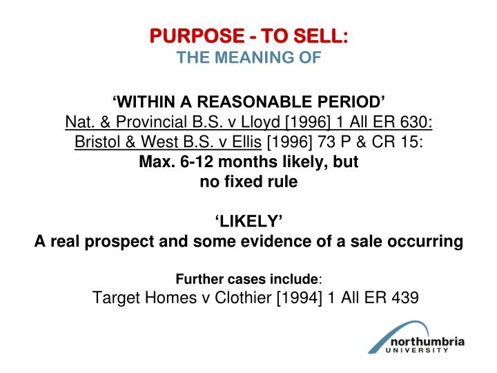 PURPOSE - TO SELL:
