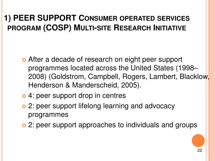 1) PEER SUPPORT Consumer operated services program (COSP) Multi-site
