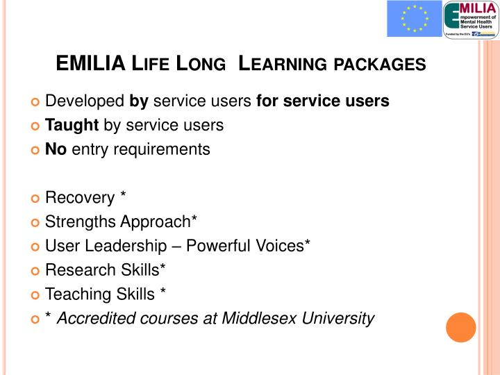 EMILIA Life Long  Learning packages