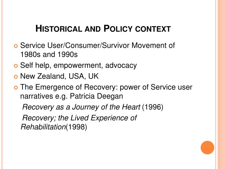 Historical and Policy context