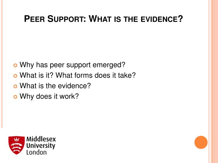 peer support what is the evidence