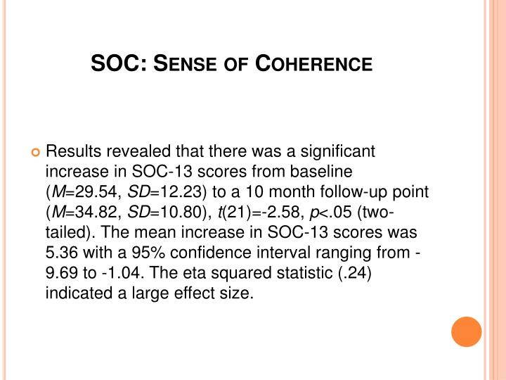 SOC: Sense of Coherence